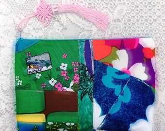 slow made XL  zipper clutch - all she wants 2 do is sun -  handmade from morsels of  Vintage Hawaii fabrics + Vintage patch