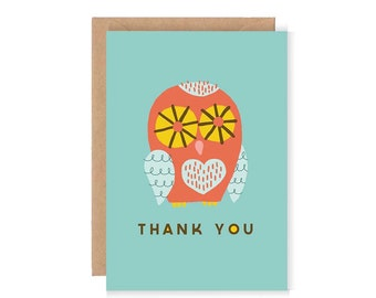 Thank You Owl Card - Cute Owl illustration / Greetings Card / Typography