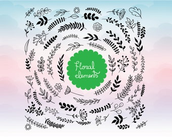 Floral elements - Silhouette Design - Vinyl Decal Cutting File - Clipart in Svg, Eps, Dxf, Png Format for Cricut and Silhouette cutting