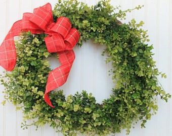 Christmas Wreath, Faux Boxwood Wreath, Holiday Wreath, Boxwood Wreath, Greenery Wreath, Front Door Wreath, Outdoor Wreath, Wreaths