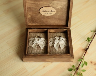 Personalized wedding ring box. Rustic wooden ring box. Wedding ring holder. Double ring box.