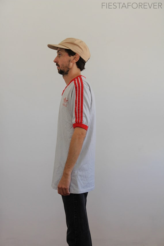 80s USA Small TreFoil Ringer Striped Adidas Shirt 71wz4T7Srq