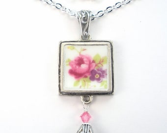 Broken China Necklace Pink Rose Purple Floral Charm Pendant Silver Necklace Vintage Porcelain Jewelry by Charmedware
