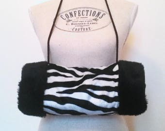 Zebra faux fur muff and organic flax seed heating pad, Russian sleeve faux fur, heated and its sleeve