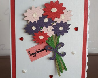 A very pretty wedding anniversary card, handmade.