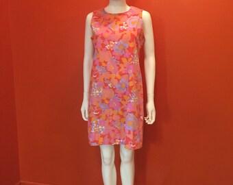 1980's AMI Vintage Pink Pop Art Floral Shift Dress