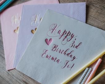 Personalized Napkins, Personalized Napkins, Custom Napkins, Birthday Napkins, Monogramed Napkins, Custom Luncheon Napkins