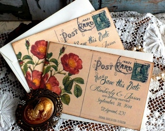 Vintage Postcard  Wedding Save the Date Cards Handmade by avintageobsession on etsy