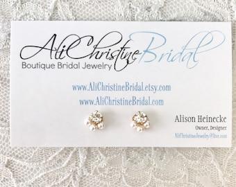 Pearl stud bridal earrings, Rhinestone stud earrings, pearl and rhinestone stud earrings,  tiny bridal earrings, petite bridal earrings,