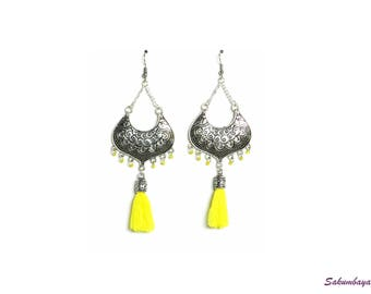 Earrings, half moon, yellow, pompons, beads, candlestick, ethnic, bohemian, tribal
