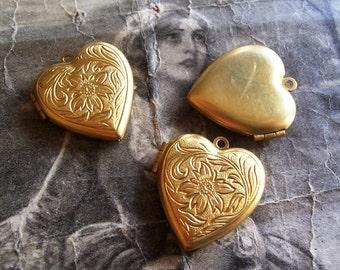 1 PC Raw Brass Heart Locket - LM05