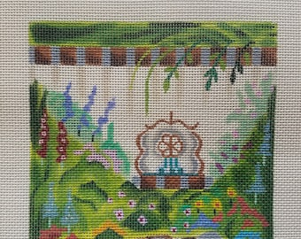 Hand Painted Needlepoint Canvas. Peaceful Zen Garden