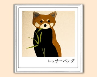 Red Panda 10x10 inches Japanese inspired print