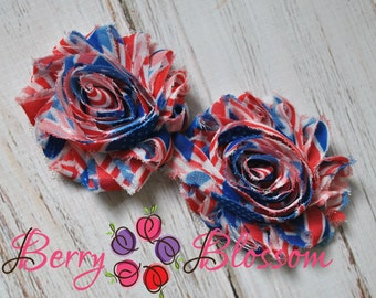 Red white blue roses etsy 25 stars stripes shabby flower trim frayed chiffon rose flowers by the mightylinksfo