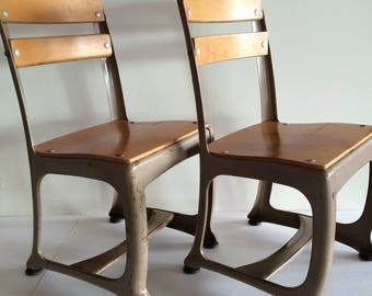 Vintage School Chair   1 Available!   Charming Small Old School Decor    Honey Wood W Metal Frame   Cottage Nursery