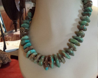 Turquoise natural polished nugget necklace