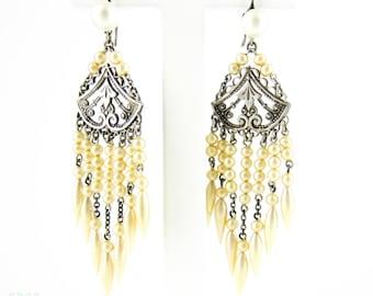 Antique Edwardian Chandelier Earrings, Silver & Wax Pearl Long Dangle Bridal Earrings. Circa 1900s.