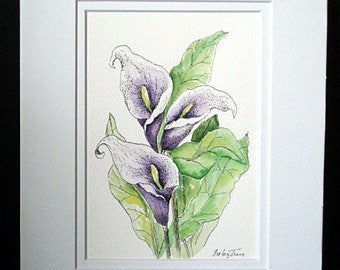 Calla Lily Flowers - Original Watercolorand Pen and Ink Painting, Flower, Flower Art, Painting, Wall Art, Home Decor, Flower Gift