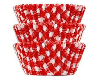 Red Gingham Baking Cups - 50 vibrant red plaid gingham cupcake liners