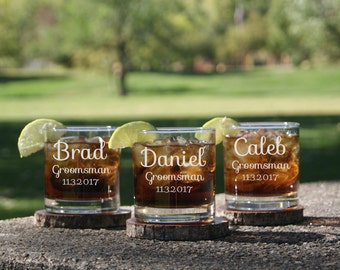 Personalized Whiskey Glasses / Groomsmen Gifts / Engraved Rocks Glass / Custom Whiskey Glass / Barware / Scotch Glass / Groomsman Gift Set