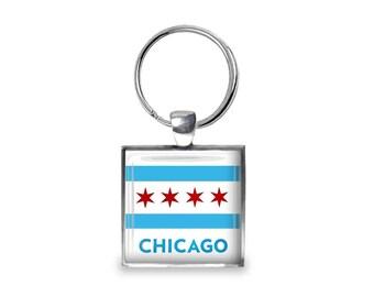 Chicago Flag - Glass Photo Keychain - Handmade