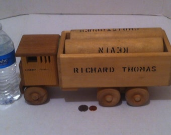"""Vintage Hand Made Quality 14"""" Big Rolling Working Semi Truck Log Hauler with Logs, Rolling Wheels, Quality Made, Can Be Painted for Even"""