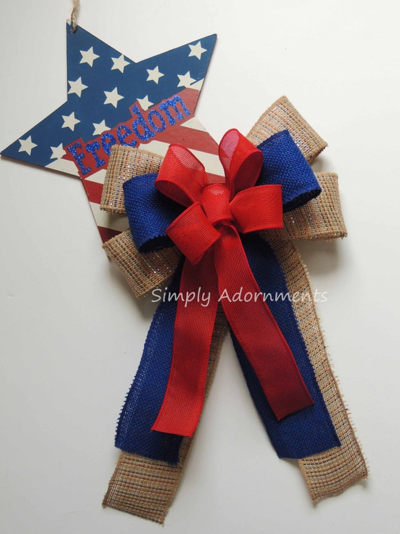 Fourth of July Burlap Bow Red White Blue Burlap Bow Patriotic Burlap Wreath Bow July 4th Burlap Bow Patriotic door hanger decor Gift Bow