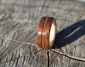 Bubinga and maple bentwood ring with guitar string inlay