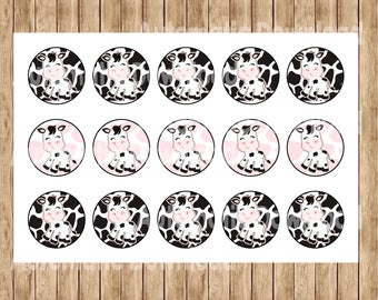 "Cow  4x6"" 1"" Inch Bottle Cap Image/Digital Collage Sheet, Bottle Cap Cow"