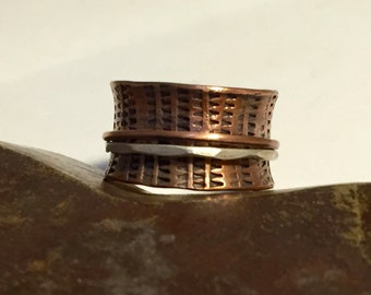 Mixed Metal Copper and Sterling Silver Ring Wide Band Hand Stamped Spinner Ring  - Made to Order