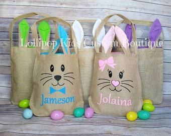 Hippity Hoppity Easter Bunny Burlap Tote