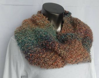 Cozy & Chunky Orange Turquoise Purple Stripe Soft Hand Knit Infinity Scarf or Cowl Ready to Ship