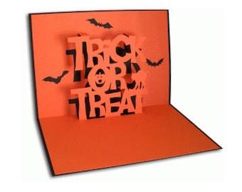 Trick or Treat Pop Up Card , Bats , Adults , Kids , Halloween , Trick or Treat , PaperCut , 3D