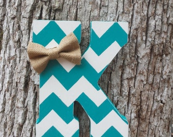 """9"""" Hand Cut Chevron Letter, Distressed Wooden Letter, Free Standing/Hanging Letter"""