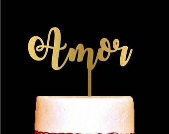 Amor Wedding Cake Topper, Gold Cake Topper, Anniversary Cake Topper
