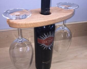 Oak Wine Glass Bottle Topper