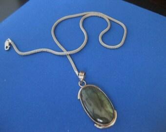 Laboradorite Pendant 9.25 Sterling Silver and Chain