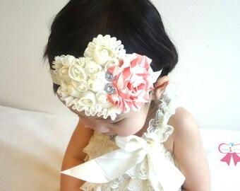 Baby Love Headband, Ivory and peach stripes Shabby heart headband. Baby Girls Headbands, Newborn headband, Photography  props