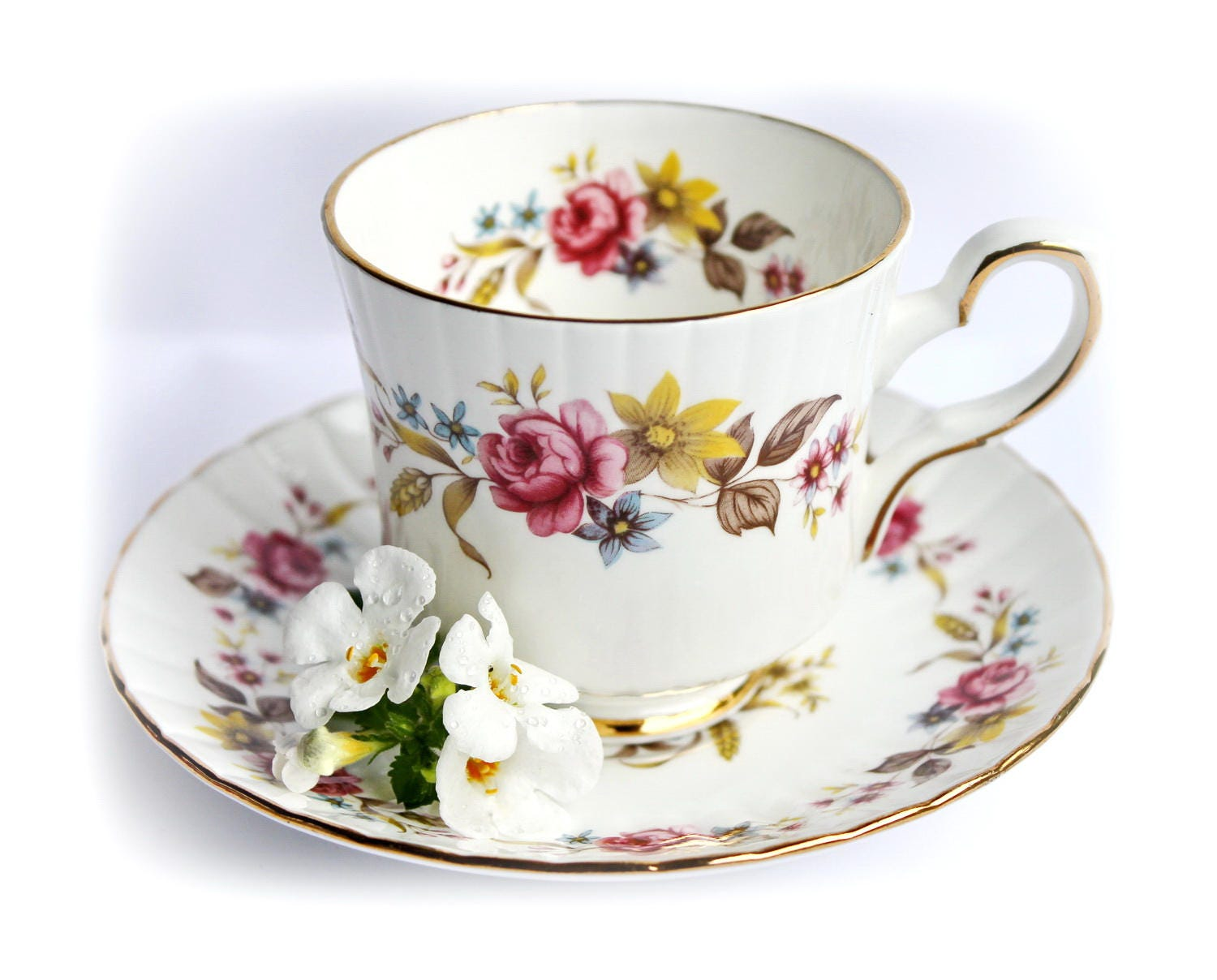 vintage rosen teetasse englisch china blumen tee tasse. Black Bedroom Furniture Sets. Home Design Ideas
