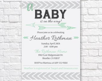 TRIBAL BABY SHOWER Invitation, Tribal Baby Shower, Arrow baby shower Invitation, Mint baby shower Invitation,  Printable Invitation