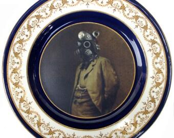 """Portrait de Dr SteamPunk assiette 10.25"""""""