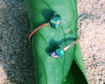 Druzy chip stone or jade toe ring-Mermaid colors! Green/blue/purple stone on copper ring