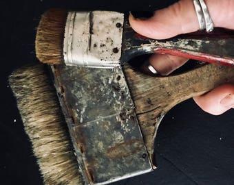 Antique Paint Brush 2 with real hair, nice patina, wonderful craftsmenship,antique, vintage