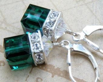 Emerald Green Crystal Earrings, Emerald Swarovski Crystal Cube Drop, Sterling Silver, Bridesmaid Modern Wedding May Birthday Birthstone Gift