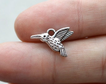 BULK 50, Hummingbird Charm, #BCH168, Silver Charms, Bird Jewelry Charms, Jewelry Supplies, Alloy Charms, Loose Charms, Bracelet Charms