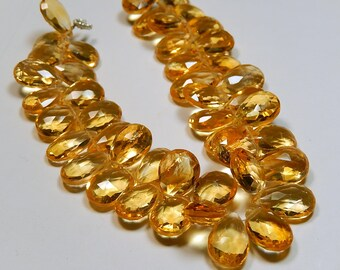 AAA Citrine Gemstone Bead, Semi Precious Gemstone. Faceted Pear Briolette. 13-15mm. Pairs & Non Matching 1 to 7 Briolettes. (52cit)