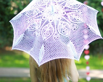Promo! Crochet wedding umbrella  - sun umbrella gift  - wedding photo white accessoris lace parasol - ready to ship