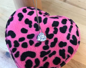 Crystal heart necklace / Sterling silver chain / Valentine's Day