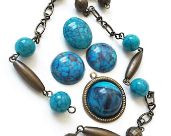 craft lot desastash faux turquoise brass tone metal beaded chain cabochons and bead for repurposing--mixed lot of 6 items