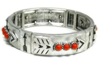 Sale  Arrow Bracelet - Southwest Arrow Stretch Bangle - Red Coral - Rustic - Southwest - Art Deco - Native - Silver Stamped Bracelet with Ar